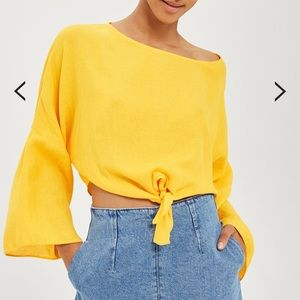 Topshop Yellow Tie Front Blouse Top